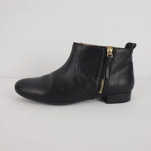 Nine West Black & Gold Leather Booties Size 8.5